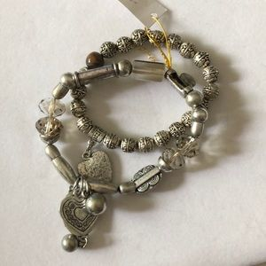 2 Stretchy Silver Color Charm Bracelets